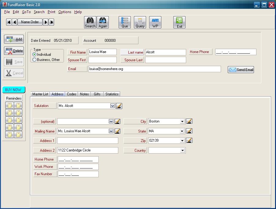 Click to view FundRaiser Basic 2.04 screenshot